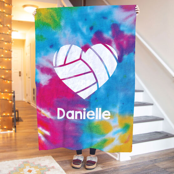 Volleyball Premium Blanket - Personalized Tie-Dye Pattern with Heart