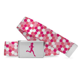 Running Lifestyle Belt Female Runner Hexagon Pattern
