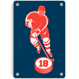 Hockey Metal Wall Art Panel - Personalized Skater with Puck