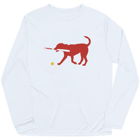 Softball Long Sleeve Performance Tee - Pitch The Softball Dog