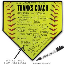 Softball Home Plate Plaque - Thanks Coach