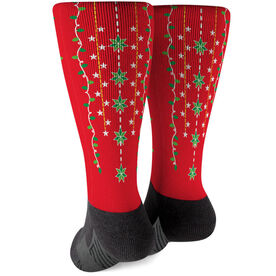 Printed Mid-Calf Socks - Christmas Lights
