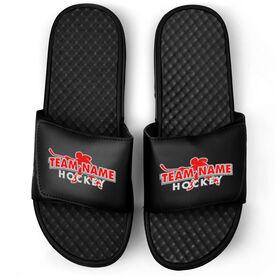 Hockey Black Slide Sandals - Your Team Name