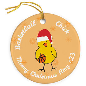 Basketball Porcelain Ornament Chick With Santa Hat