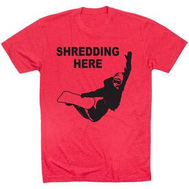 Snowboarding Tshirt Short Sleeve Shredding Here