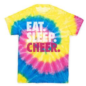 Cheerleading Short Sleeve T-Shirt - Eat. Sleep. Cheer Tie Dye
