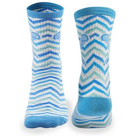 Girls Lacrosse Woven Mid Calf Socks - Chevron (White/Blue/Teal)