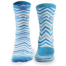Girls Lacrosse Woven Mid Calf Socks - Chevron (White/Blue/Teal)