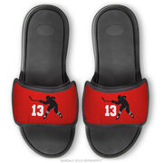 Hockey Repwell® Sandal Straps - Hockey Slapshot with Number