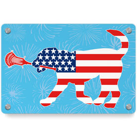 Guys Lacrosse Metal Wall Art Panel - Patriotic Max the Lax Dog