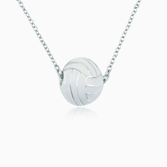 White Volleyball Bead Necklace