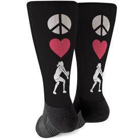 Volleyball Printed Mid-Calf Socks - Peace Love Volleyball