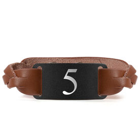 Leather Bracelet with Engraved Plate - Player Number