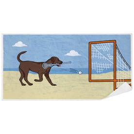 Guys Lacrosse Premium Beach Towel - Lacrosse Dog with Net