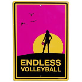 "Endless Volleyball Aluminum Room Sign (F) (18"" X 12"")"