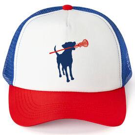 Girls Lacrosse Trucker Hat Dog