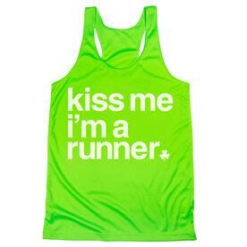 Women's Racerback Performance Tank Top - Kiss Me I am a Runner Saying