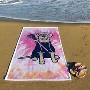 Girls Lacrosse Premium Beach Towel - Lily the Lacrosse Dog with Tie-Dye