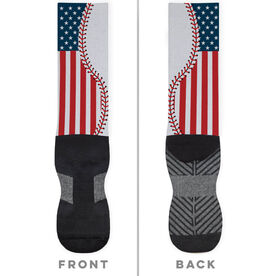 Baseball Printed Mid-Calf Socks - American Flag Ball