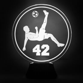 Soccer Acrylic LED Lamp Bicycle Kick With Number