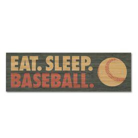 """Baseball 12.5"""" X 4"""" Printed Bamboo Removable Wall Tile - Eat Sleep Baseball"""