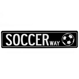 "Soccer Aluminum Room Sign - Soccer Way (4""x18"")"