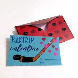 Pucker Up Hockey Valentine's Day Card