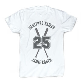Vintage Baseball T-Shirt - Personalized Crossed Bats
