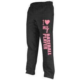 Baseball Fleece Sweatpants I Heart My Baseball Player
