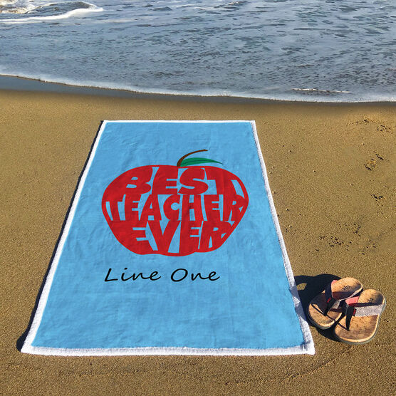 Personalized Premium Beach Towel - Best Teacher Ever Apple