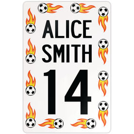 """Soccer Aluminum Room Sign Personalized Flame Soccer Ball Sign (18"""" X 12"""")"""
