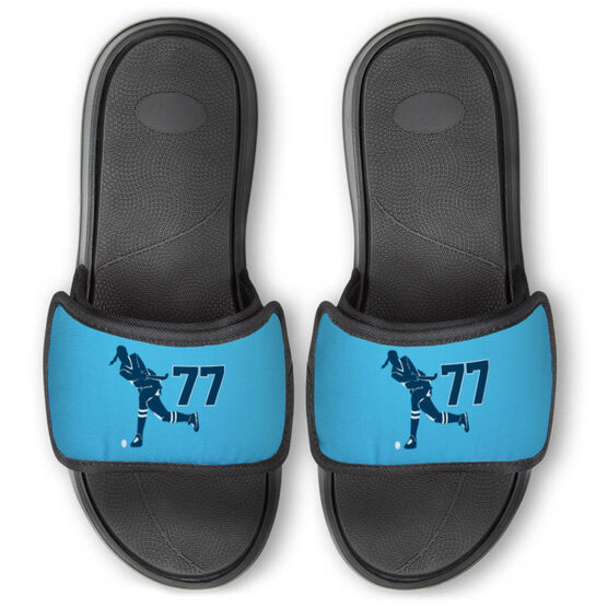 Field Hockey Repwell® Slide Sandals - Field Hockey Player With Number