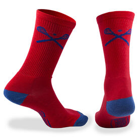 Lacrosse Woven Mid-Calf Socks - Crossed Sticks (Red)