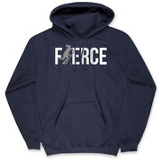 Field Hockey Hooded Sweatshirt - Fierce Field Hockey Girl with Silver Glitter