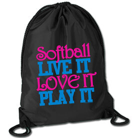 Softball Sport Pack Cinch Sack Softball Live It Love It Play It