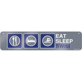 "Swimming Aluminum Room Sign Eat Sleep Swim (4""x18"")"
