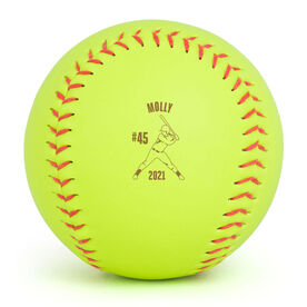 Personalized Engraved Softball - Batter