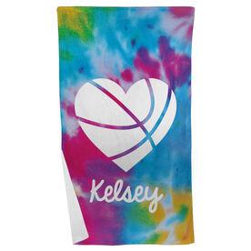 Basketball Beach Towel Personalized Tie Dye Pattern with Heart