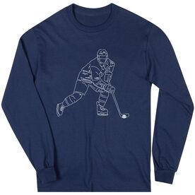 Hockey Long Sleeve T-Shirt - Hockey Player Sketch