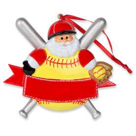 Softball Ornament - Softball Santa