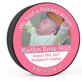 Personalized We Had A Hockey Girl Birth Announcement with Photo Hockey Puck