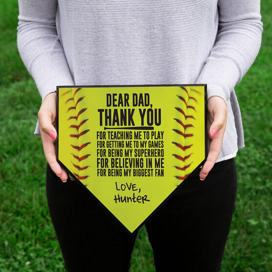 Softball Home Plate Plaque - Dear Dad