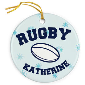 Rugby Porcelain Ornament Ball With Snowflakes