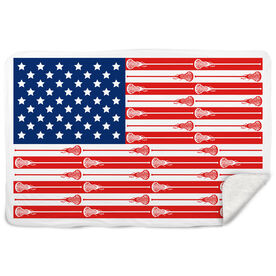 Girls Lacrosse Sherpa Fleece Blanket USA Stick Flag (Girls Sticks)