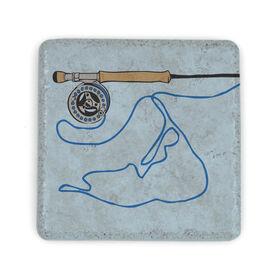 Fly Fishing Stone Coaster - Nantucket