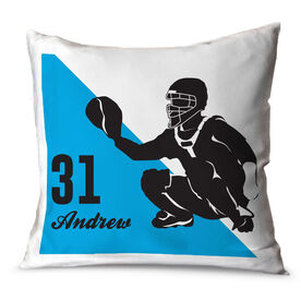 Baseball Throw Pillow Personalized Baseball Catcher Silhouette
