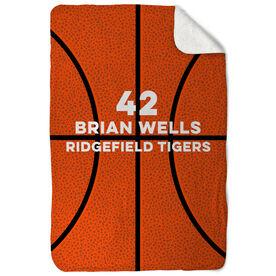 Basketball Sherpa Fleece Blanket - Personalized Texture