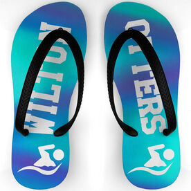 Swimming Flip Flops Watch Your Step with Team (Vertical Lines)