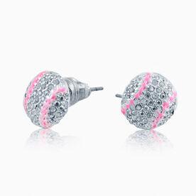 Softball Rhinestone Earrings - Super Sparkle Pink