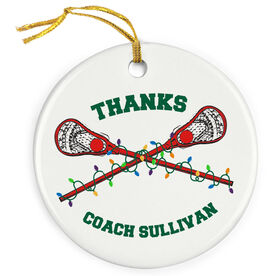 Guys Lacrosse Porcelain Ornament Thanks Coach With Crossed Sticks